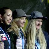 Akiyo Noguchi - Janja Garnbret - Shauna Coxsey - World Cup - Meiringen 2019 - Foto © video screenshot